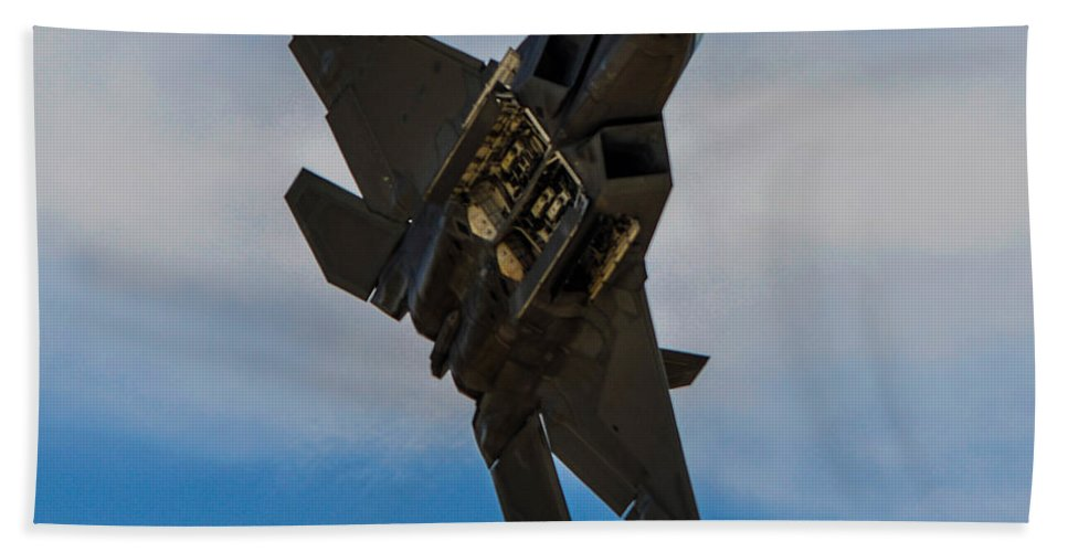 Lockheed Martin F-22 Raptor Bath Sheet featuring the photograph F-22 Raptor 3 by Tommy Anderson