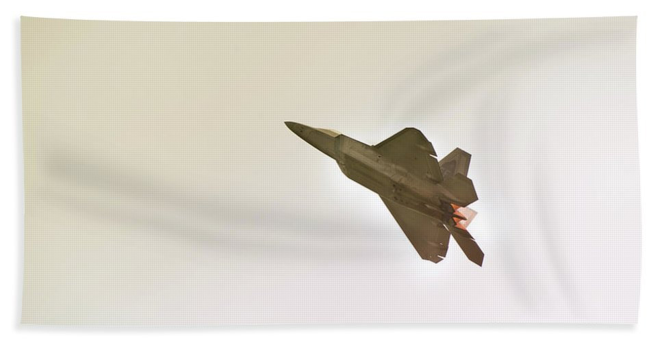Airplane Bath Towel featuring the photograph F-22 Raptor by Sebastian Musial