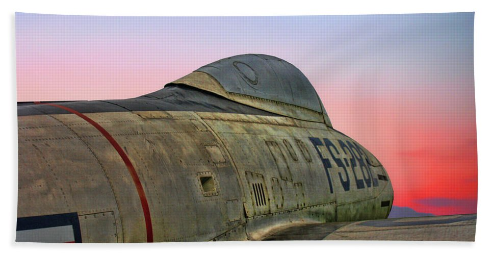 Republic F-84g Thunderjet Hand Towel featuring the photograph F-84g Thunderjet by Tommy Anderson