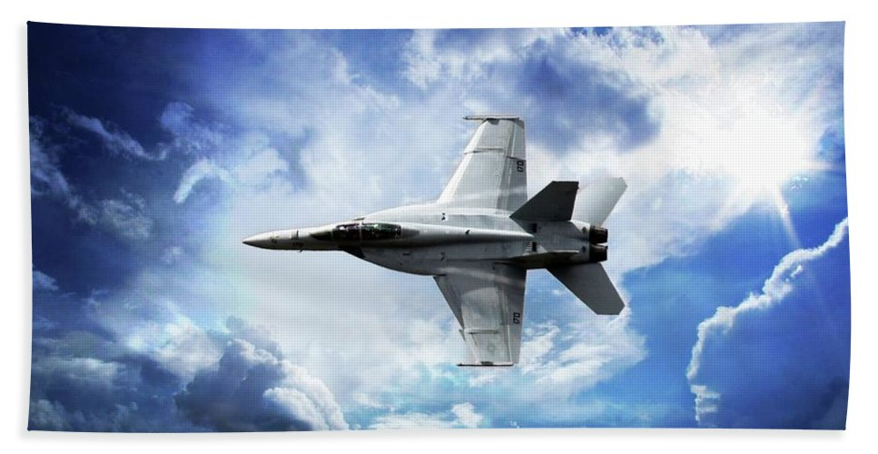F18 Bath Towel featuring the photograph F18 Fighter Jet by Aaron Berg