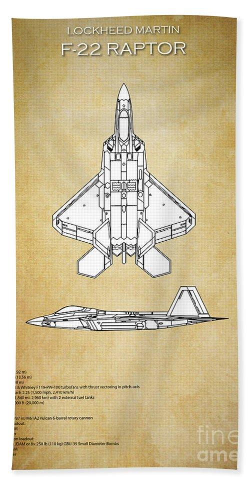 F22 Bath Sheet featuring the digital art F22 Raptor Blueprint by J Biggadike