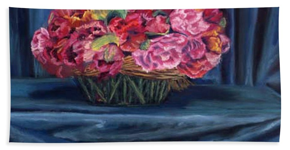Flowers Bath Towel featuring the painting Fabric And Flowers by Sharon E Allen