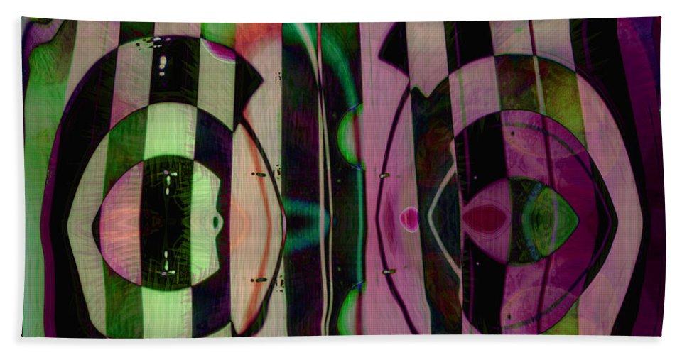 Face To Face Bath Towel featuring the digital art Face 2 Face by Linda Sannuti