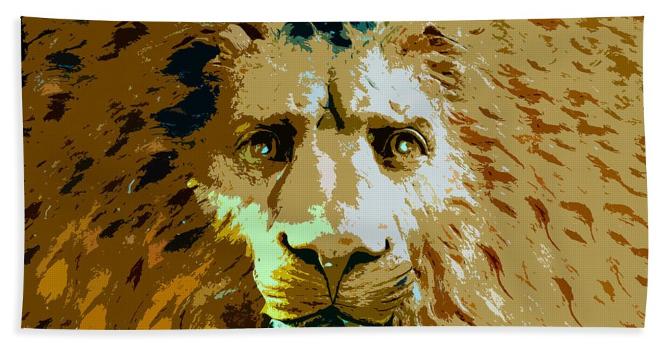 Lion Hand Towel featuring the painting Face Of The Lion by David Lee Thompson