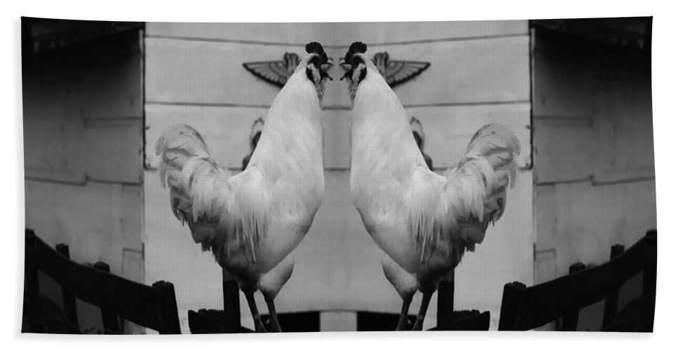 Rooster Bath Sheet featuring the photograph Face Off by Peter Piatt