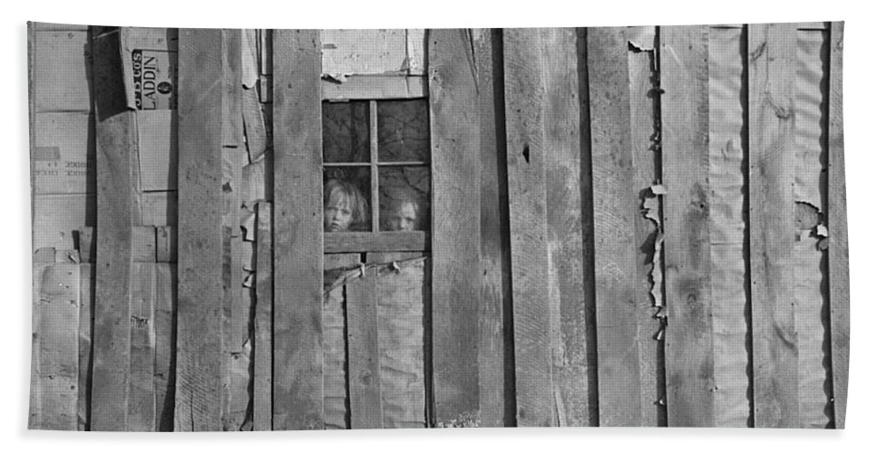 Poverty Hand Towel featuring the photograph Faces In The Window by Bonfire Photography