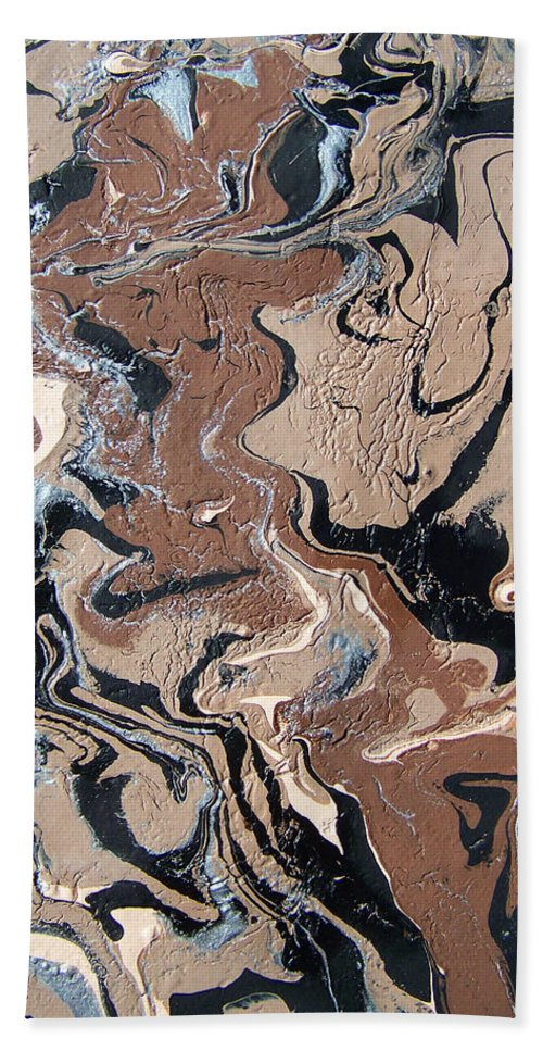 Abstract Bath Sheet featuring the painting Faces Of Delirium by Ernest Amos-Jackson