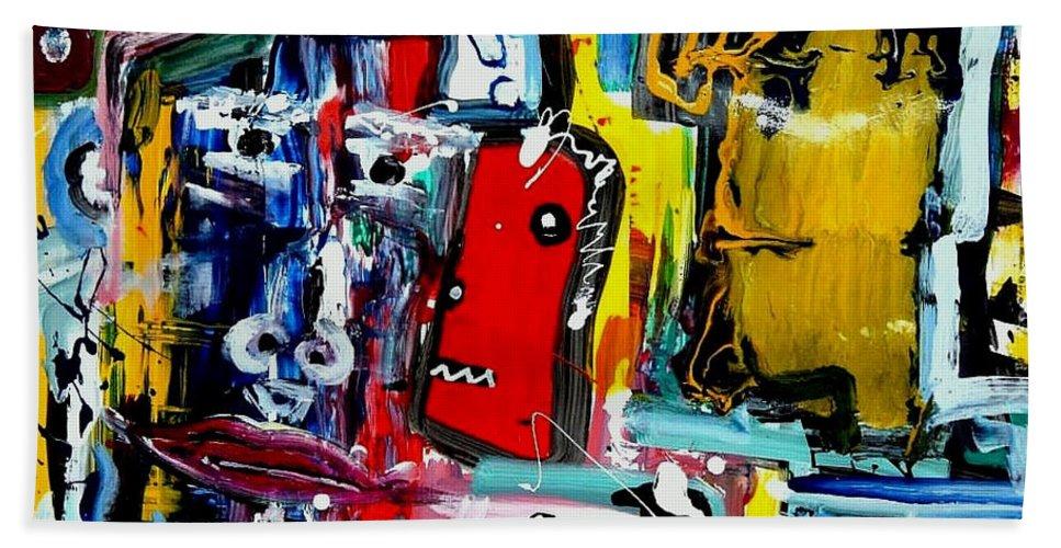 Face Bath Sheet featuring the painting Faces by Saverio Filioli Filioli