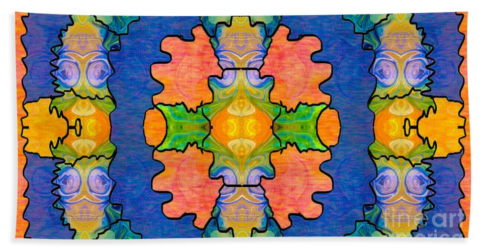2015 Bath Sheet featuring the digital art Facing Realities Abstract Hard Candy Art By Omashte by Omaste Witkowski
