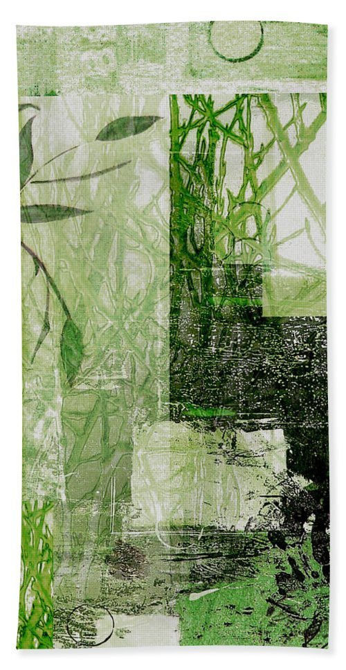 Abstract Bath Sheet featuring the mixed media Faded Floral by Ruth Palmer