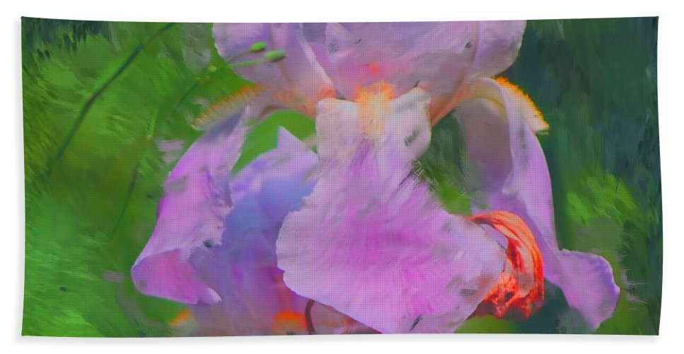 Iris Hand Towel featuring the painting Fading Glory by David Lane