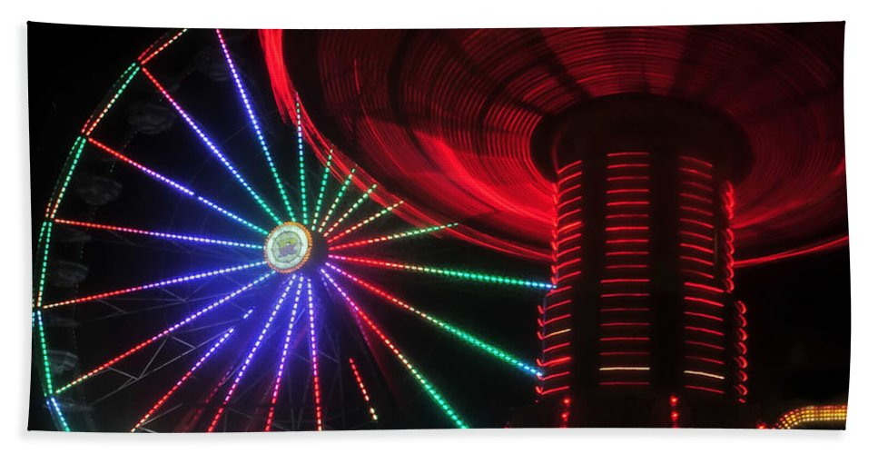 Florida State Fair Hand Towel featuring the photograph Fair Lights by David Lee Thompson