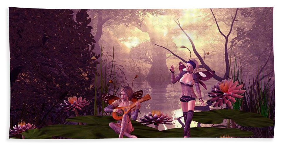 Fantasy Bath Towel featuring the digital art Fairies At A Pond by John Junek