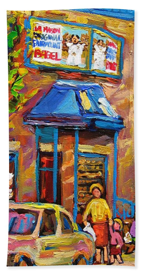 Fairmount Bagel Bath Sheet featuring the painting Fairmount Bagel Fairmount Street Montreal by Carole Spandau