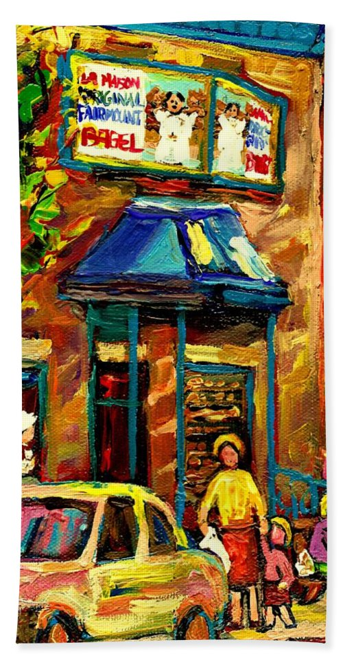 Fairmount Bagel Bath Sheet featuring the painting Fairmount Bagel In Montreal by Carole Spandau