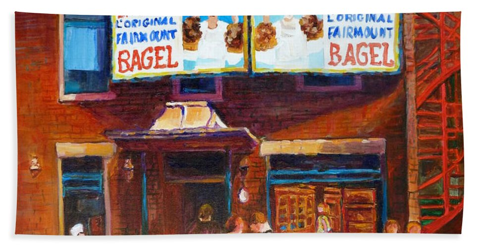 Fairmount Bagel Hand Towel featuring the painting Fairmount Bagel With Blue Car by Carole Spandau