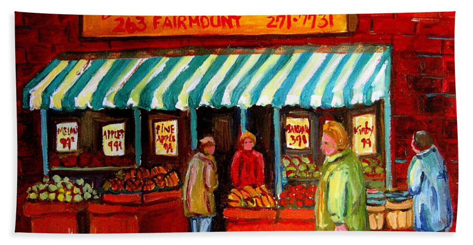 Fairmount Fruits And Vegetables Bath Towel featuring the painting Fairmount Fruit And Vegetables by Carole Spandau