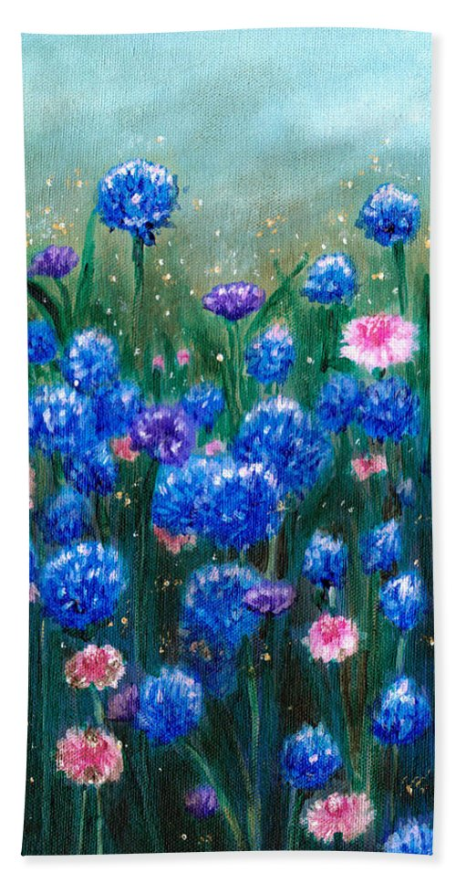 Flowers Bath Sheet featuring the painting Fairy Dust Meadow by Srimati Arya