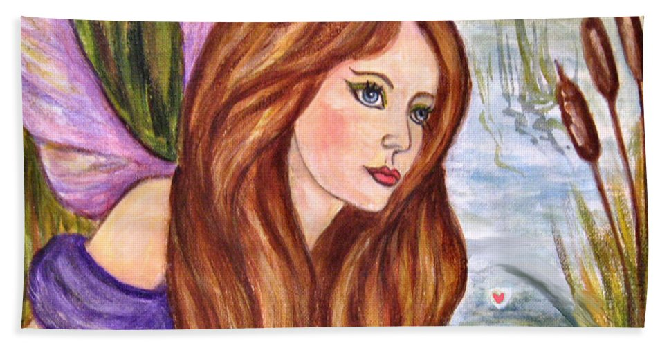 Swamp Fairy Hand Towel featuring the painting Fairy by Frances Gillotti
