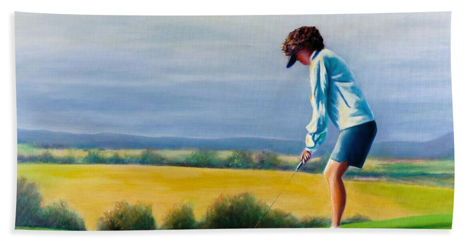 Golfer Hand Towel featuring the painting Fairy Golf Mother by Shannon Grissom