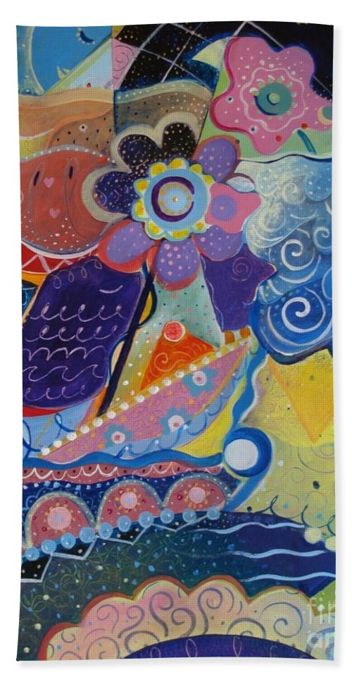 Imaginary Hand Towel featuring the painting Fairy Tales by Helena Tiainen