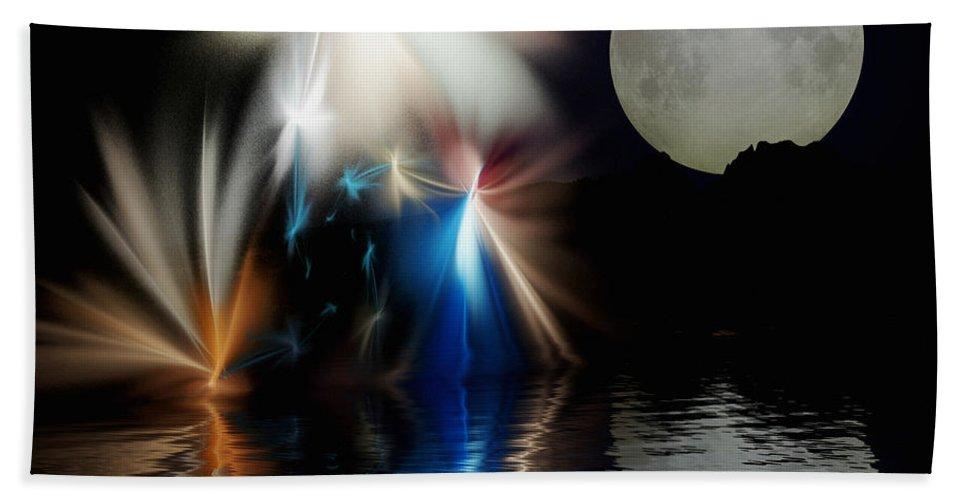 Digital Painting Hand Towel featuring the digital art Fairy's Moonlight Ball by David Lane