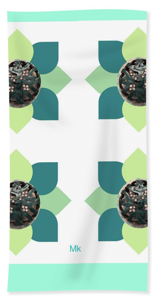 Abstract Hand Towel featuring the digital art Fake Flowers by Mary Jo Hopton