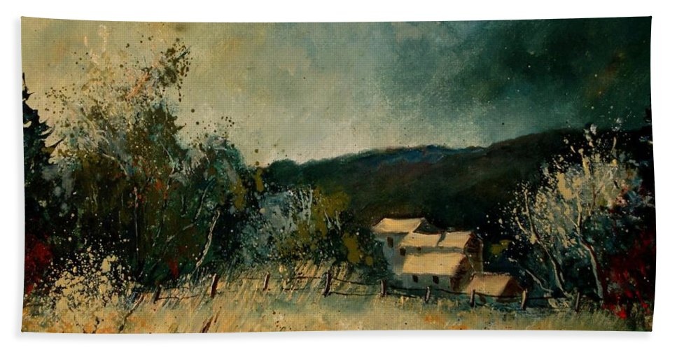 Village Bath Towel featuring the painting Fall 4590 by Pol Ledent