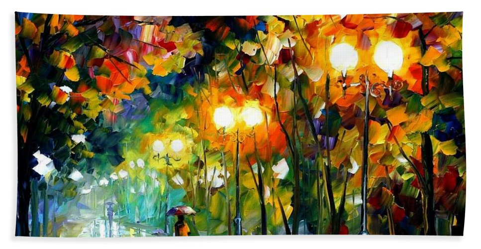 Afremov Bath Sheet featuring the painting Fall Alley by Leonid Afremov