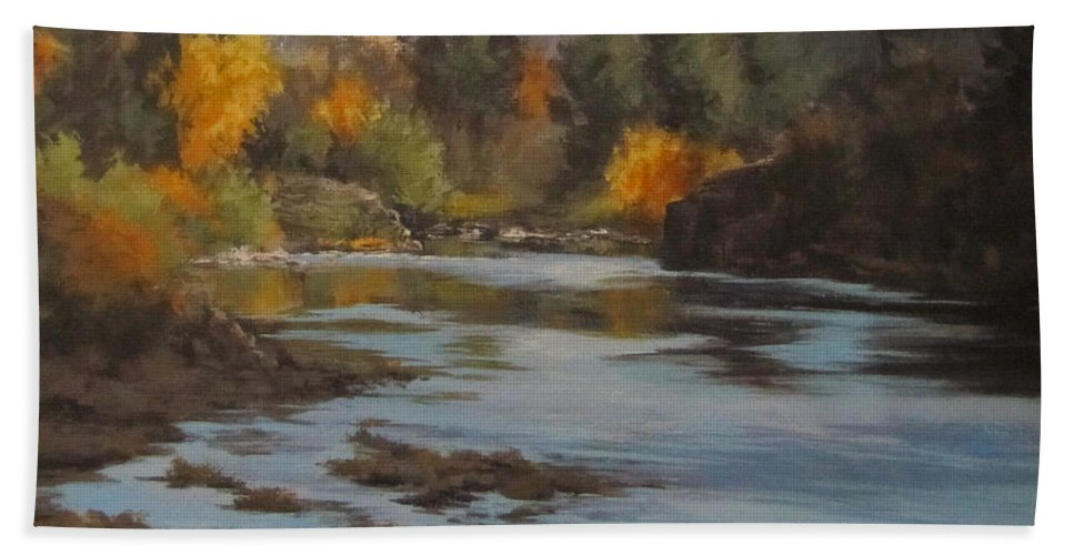 Landscape Bath Sheet featuring the painting Fall At Colliding Rivers by Karen Ilari