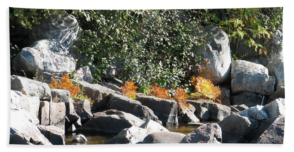 Creek Hand Towel featuring the photograph Fall At The Creek by Kelly Mezzapelle