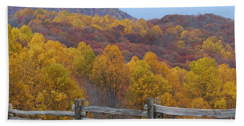 Fence Hand Towel featuring the photograph Fall Blend by Eric Liller