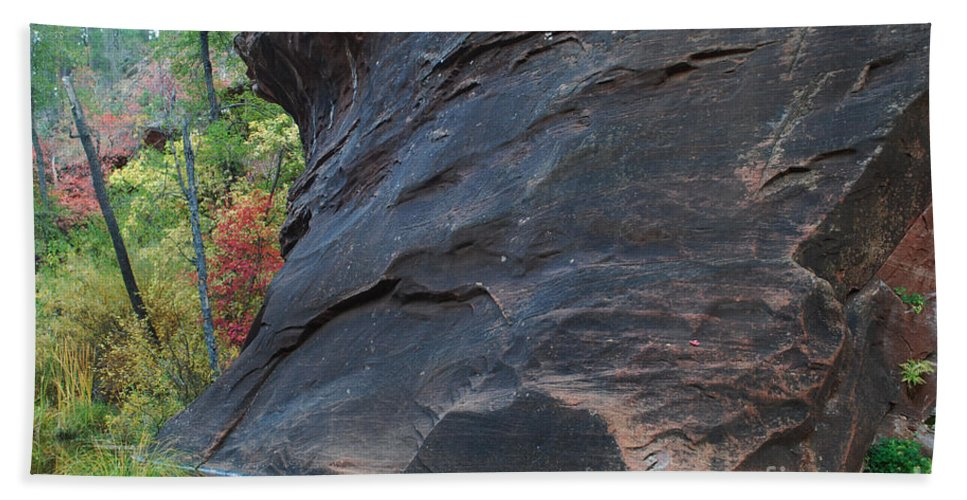 Photo Hand Towel featuring the photograph Fall Colors Peek Around Mountain Horizontal Number 1 by Heather Kirk