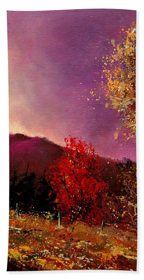 River Hand Towel featuring the painting Fall Colors by Pol Ledent
