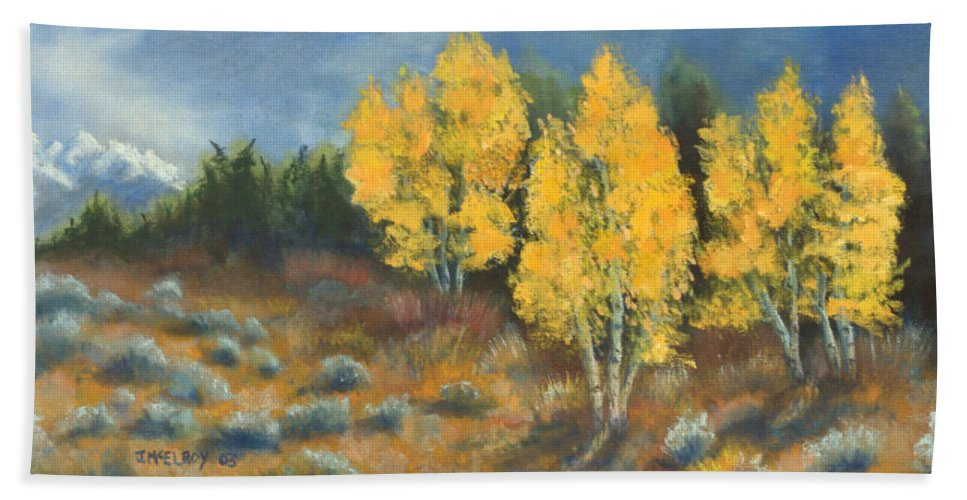 Landscape Hand Towel featuring the painting Fall Delight by Jerry McElroy