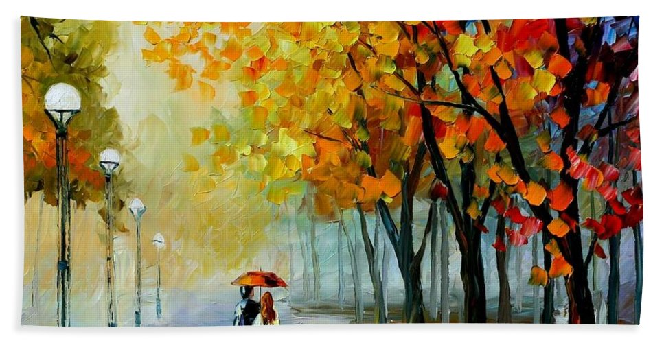 Afremov Bath Sheet featuring the painting Fall Drizzle by Leonid Afremov