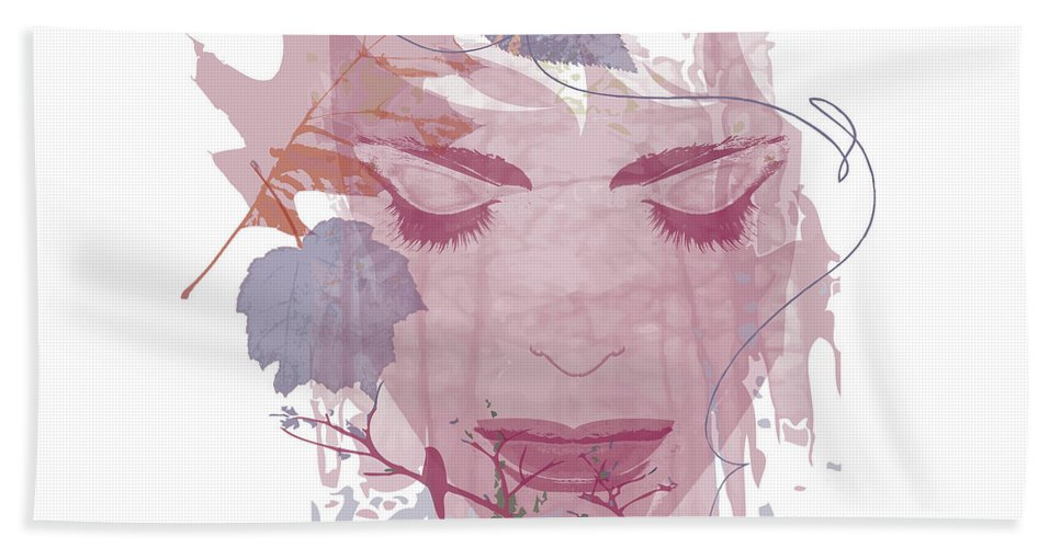 Face Hand Towel featuring the digital art Pink And Blue Fall Face With Leaves by Lisa Henderling