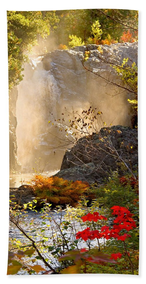 Fall Bath Sheet featuring the photograph Fall Falls Mist Dead River Falls Marquette Mi by Michael Bessler