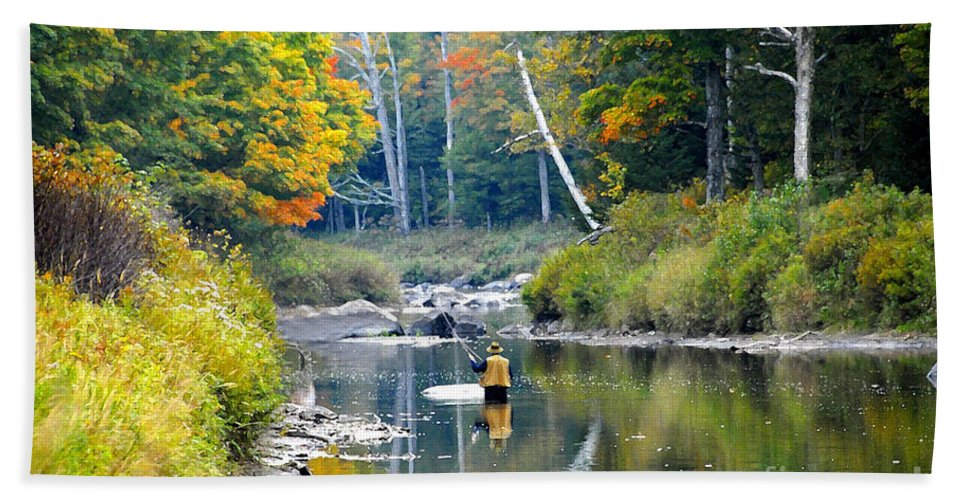Fall Bath Sheet featuring the photograph Fall Fishing by David Lee Thompson