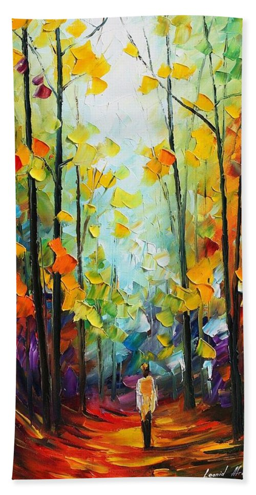 Afremov Hand Towel featuring the painting Fall Forest by Leonid Afremov