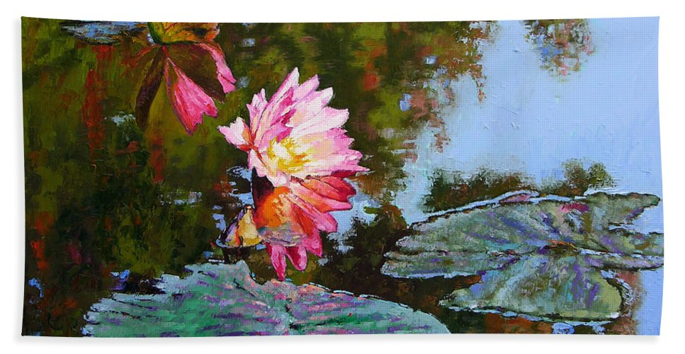 Water Lily Bath Sheet featuring the painting Fall Glow by John Lautermilch