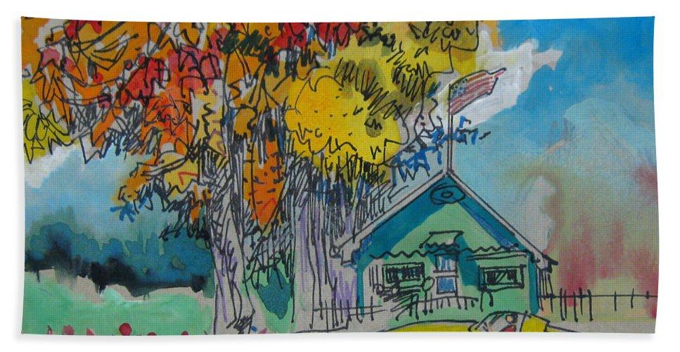 Fall Hand Towel featuring the drawing Fall by Guanyu Shi