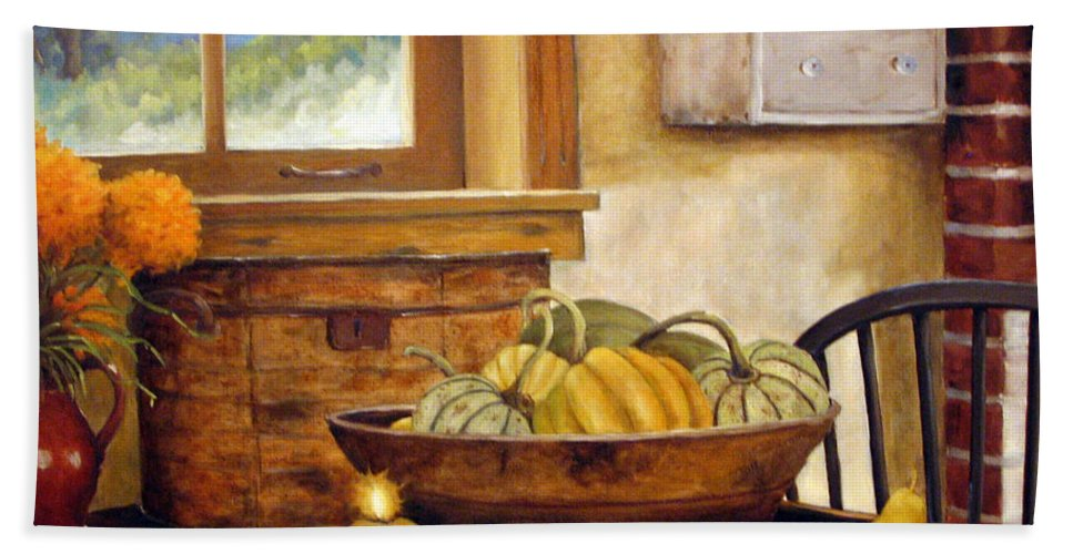 Fall Bath Towel featuring the painting Fall Harvest by Richard T Pranke
