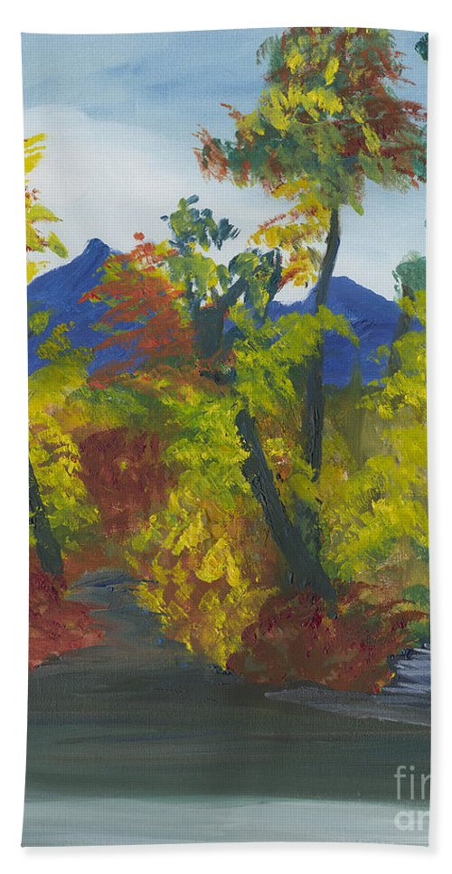 Landscape Bath Sheet featuring the painting Fall In All Its Glory by Gloria Condon