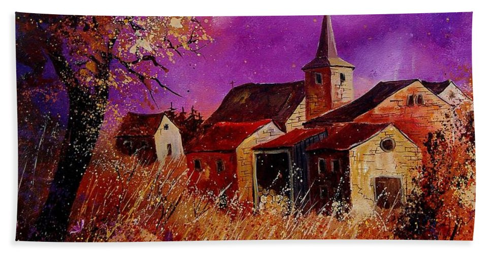 Village Hand Towel featuring the painting Fall In Ardennes by Pol Ledent