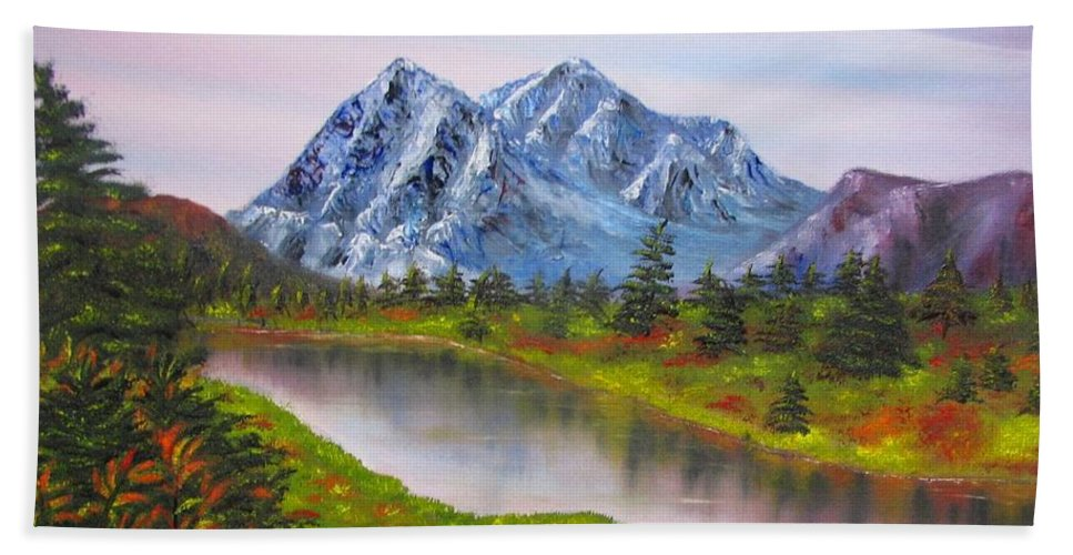 Fall Bath Towel featuring the painting Fall In Mountains Landscape Oil Painting by Natalja Picugina