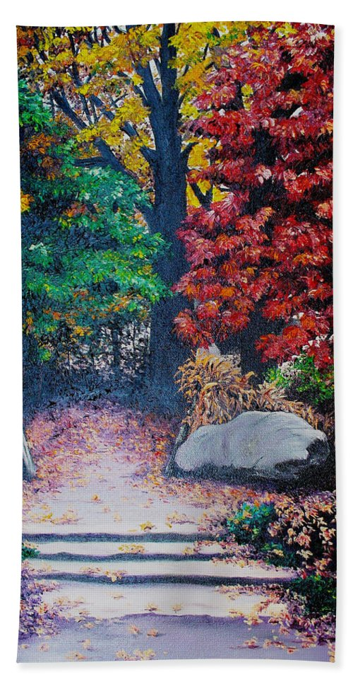 A N Original Painting Of An Autumn Scene In The Gateneau In Quebec Bath Sheet featuring the painting Fall In Quebec Canada by Karin Dawn Kelshall- Best