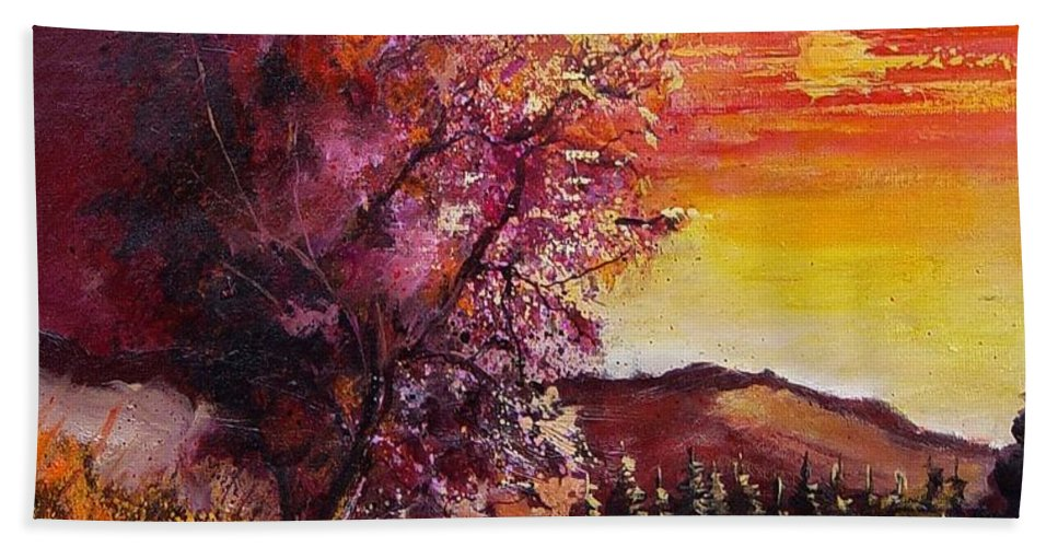 Autumn Hand Towel featuring the painting Fall In Villers by Pol Ledent