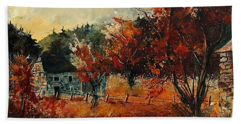 Village Hand Towel featuring the painting Fall In Vivy by Pol Ledent