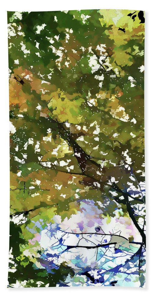 Fall In Woods Bath Sheet featuring the painting Fall In Woods by Jeelan Clark